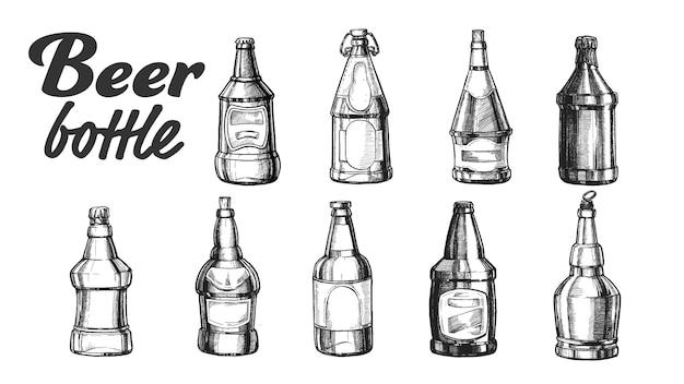Handgezeichnete leere geschlossene bierflasche set Premium Vektoren