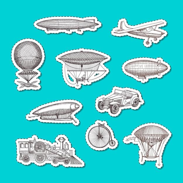 Handgezeichnete luftschiffe, fahrräder und autos Premium Vektoren
