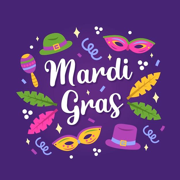 Handgezeichnete mardi gras schriftzug Kostenlosen Vektoren