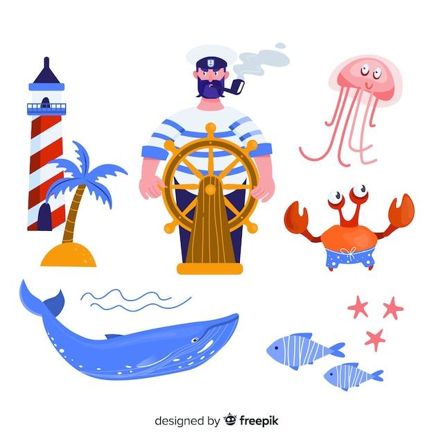 Handgezeichnete marine zeichen sammlung Kostenlosen Vektoren