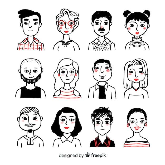 Handgezeichnete menschen avatar pack Kostenlosen Vektoren