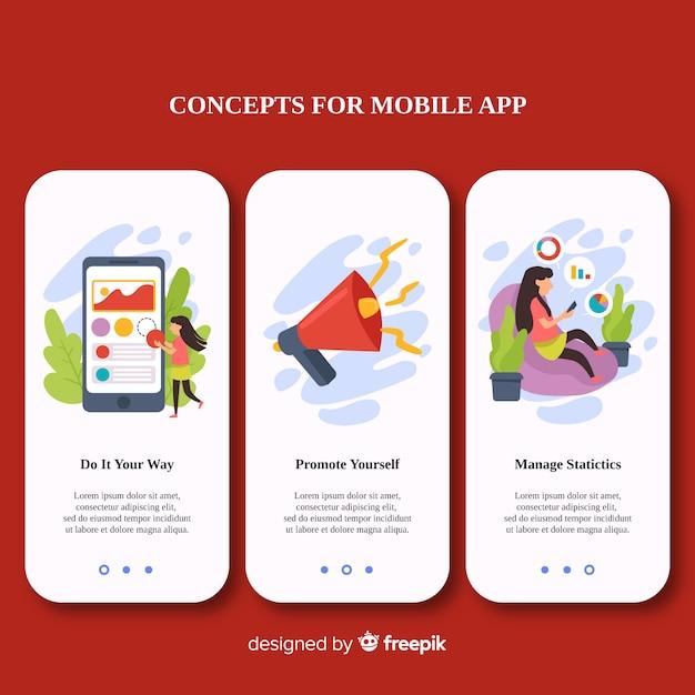 Handgezeichnete mobile app banner vorlage Kostenlosen Vektoren