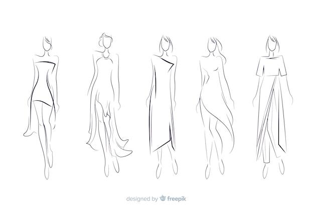 Handgezeichnete mode skizzensammlung Kostenlosen Vektoren
