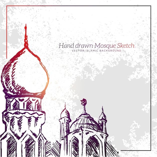 Handgezeichnete moschee sketch illustration Premium Vektoren