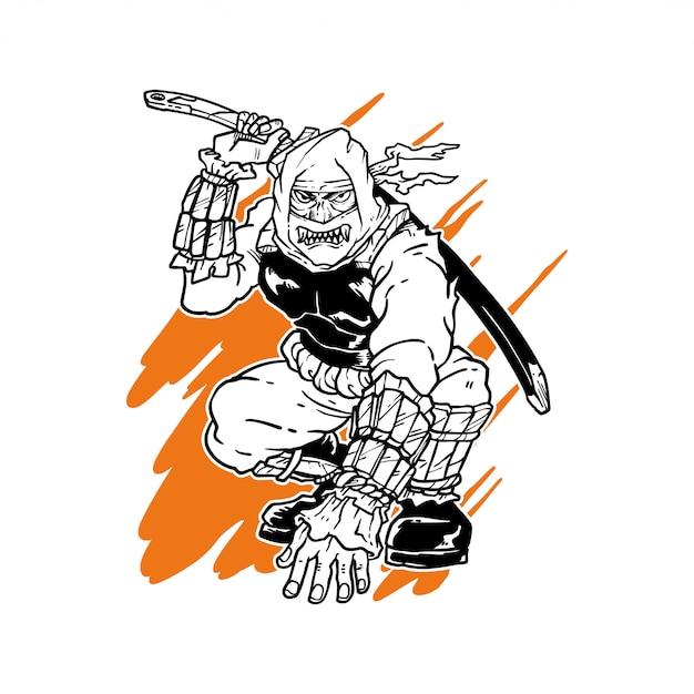 Handgezeichnete ninja illustration Premium Vektoren