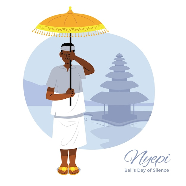 Handgezeichnete nyepi-illustration mit mann, der regenschirm hält Kostenlosen Vektoren