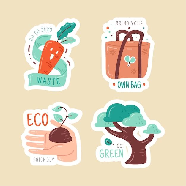 Handgezeichnete ökologie abzeichen pack Kostenlosen Vektoren