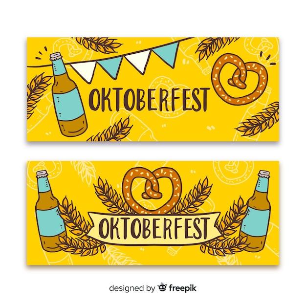 Handgezeichnete oktoberfest banner vorlage Kostenlosen Vektoren