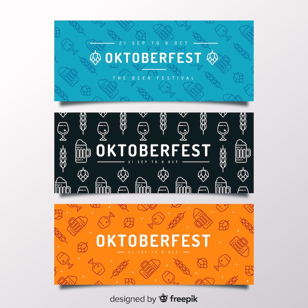 Handgezeichnete oktoberfest banner vorlagen Kostenlosen Vektoren