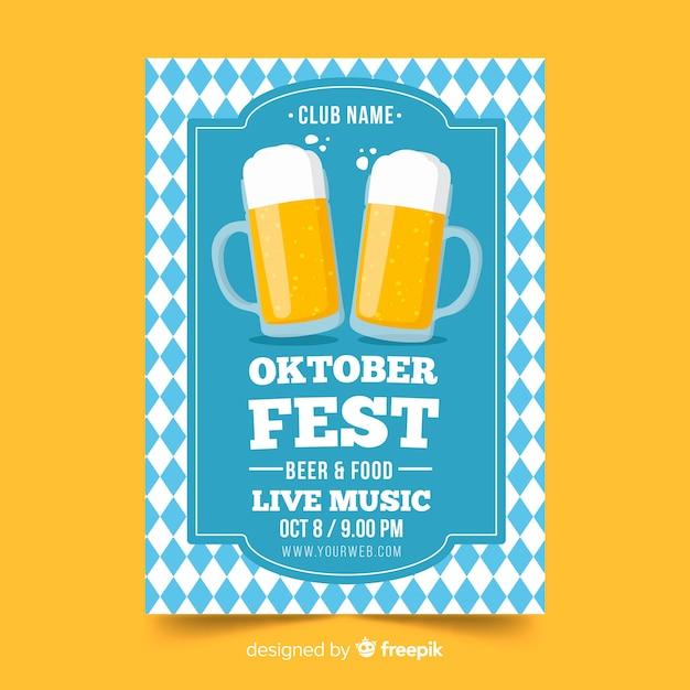 Handgezeichnete oktoberfest flyer Kostenlosen Vektoren