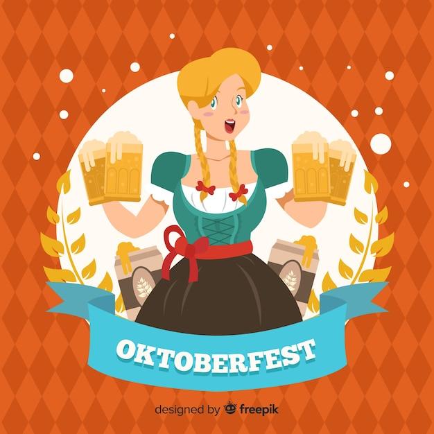 Handgezeichnete oktoberfest hintergrund mit einer frau Kostenlosen Vektoren