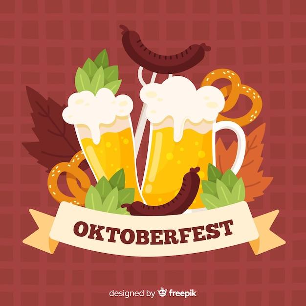 Handgezeichnete oktoberfest hintergrund Kostenlosen Vektoren