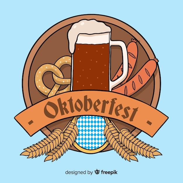 Handgezeichnete oktoberfest mit bier und brezel Kostenlosen Vektoren