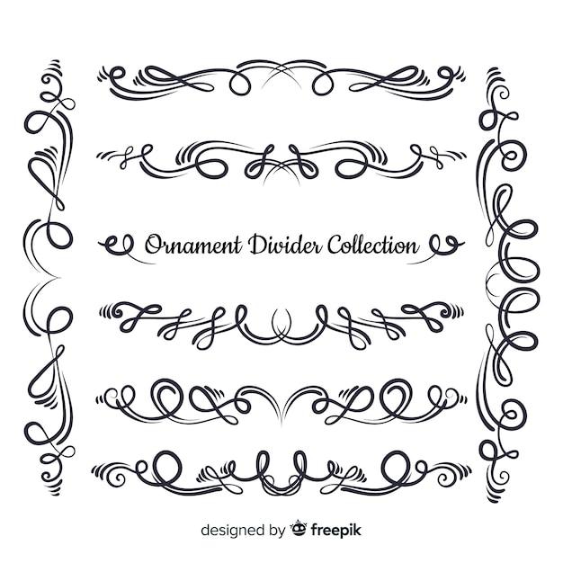 Handgezeichnete ornament teilersammlung Kostenlosen Vektoren