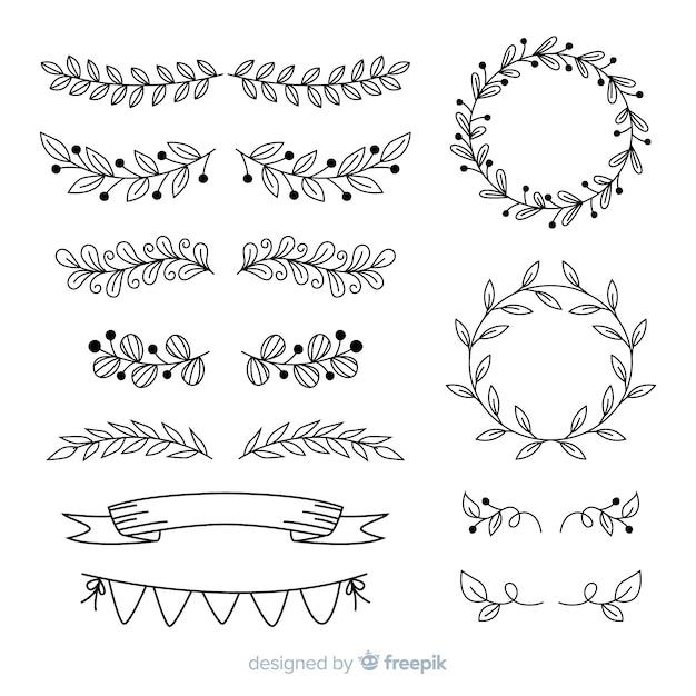 Handgezeichnete ornamente für hochzeit Kostenlosen Vektoren