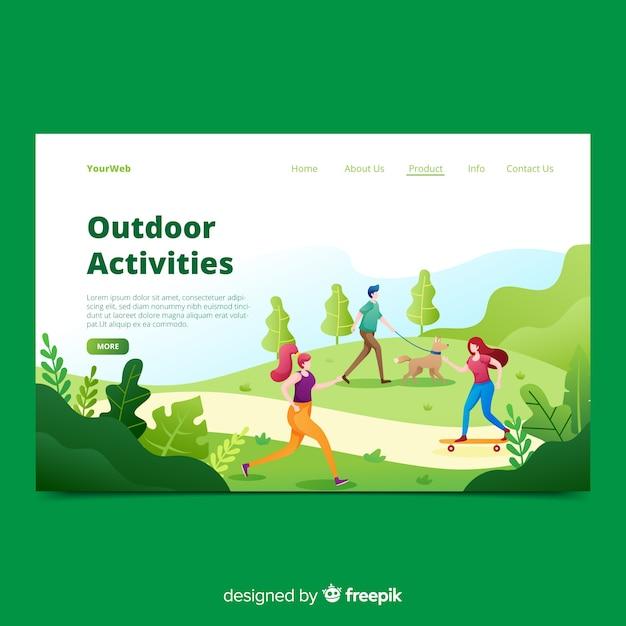 Handgezeichnete outdoor-aktivitäten landing page Kostenlosen Vektoren