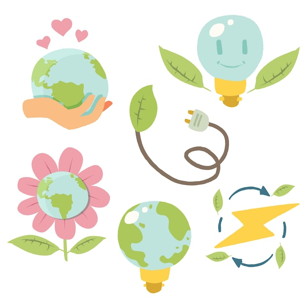 Handgezeichnete pack ökologie abzeichen Kostenlosen Vektoren