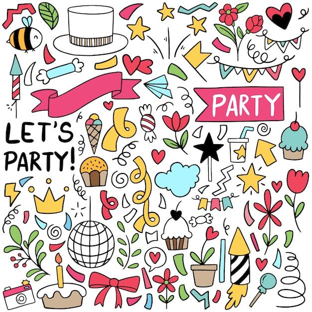 Handgezeichnete party doodle alles gute zum geburtstag elemente Premium Vektoren