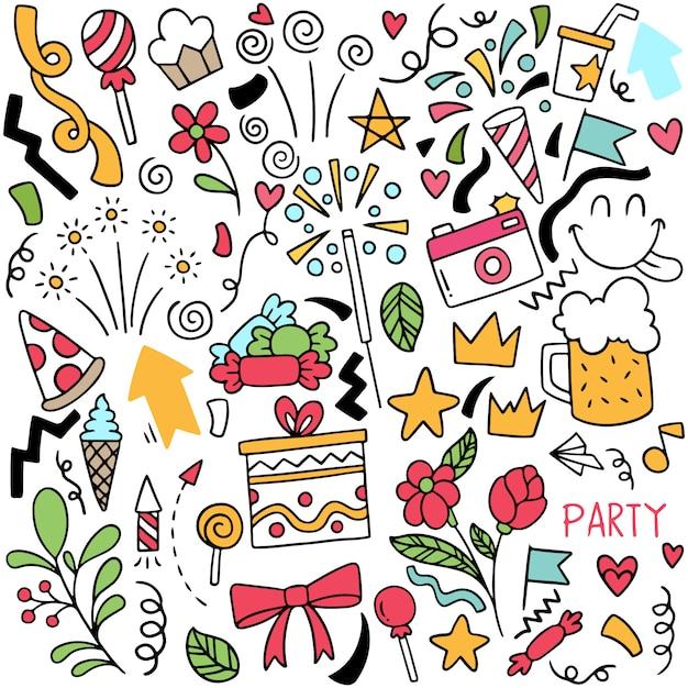 Handgezeichnete party doodle alles gute zum geburtstag ornamente hintergrundmuster Premium Vektoren
