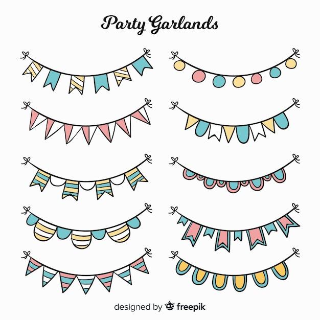 Handgezeichnete party girlande set Kostenlosen Vektoren