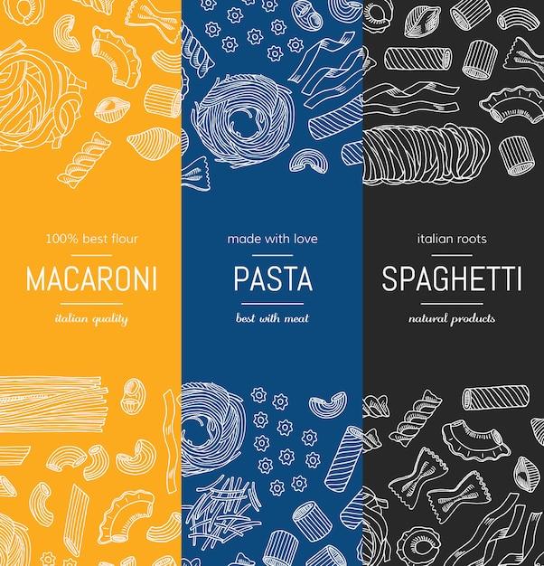 Handgezeichnete pasta typen vertikale banner plakatvorlagen Premium Vektoren