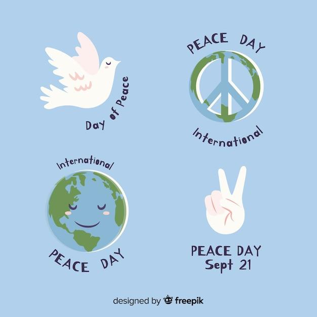 Handgezeichnete peace day label kollektion Kostenlosen Vektoren