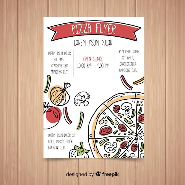 Handgezeichnete pizza flyer vorlage Kostenlosen Vektoren