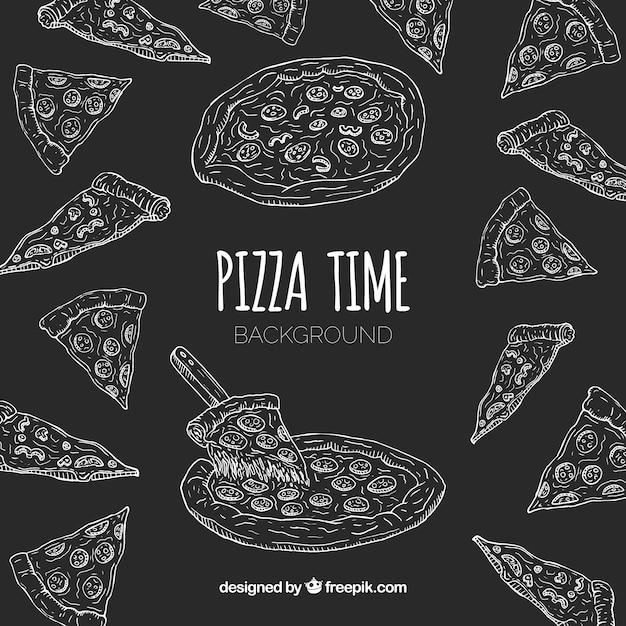 Handgezeichnete pizza restaurant zusammensetzung Kostenlosen Vektoren