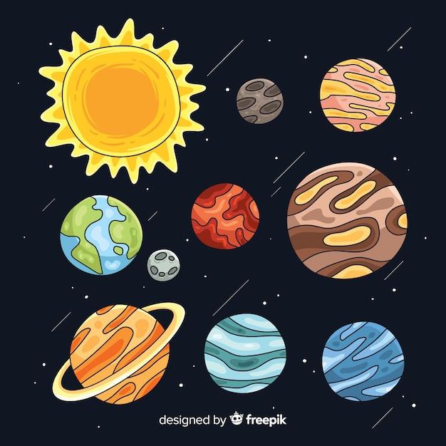 Handgezeichnete planeten festgelegt Kostenlosen Vektoren