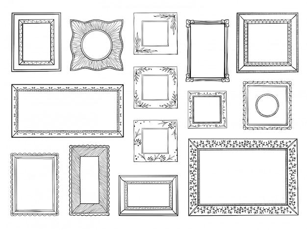 Handgezeichnete rahmen. gekritzel quadratische und kreisförmige grenzen, vintage dekorative skizzenformen. doodle ornamental boarders set Premium Vektoren