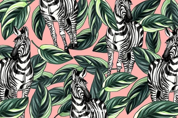 Handgezeichnete realistische tropische pflanzen und tiere hintergrund Kostenlosen Vektoren