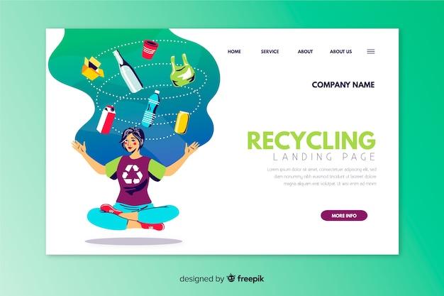 Handgezeichnete recycling landingpage vorlage Kostenlosen Vektoren
