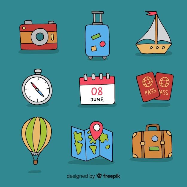 Handgezeichnete reise elementsammlung Kostenlosen Vektoren