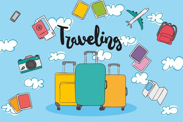 Handgezeichnete Reiseelemente Kostenlose Vektoren