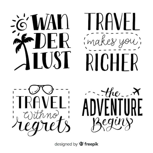 Handgezeichnete reisen schriftzug abzeichen Kostenlosen Vektoren