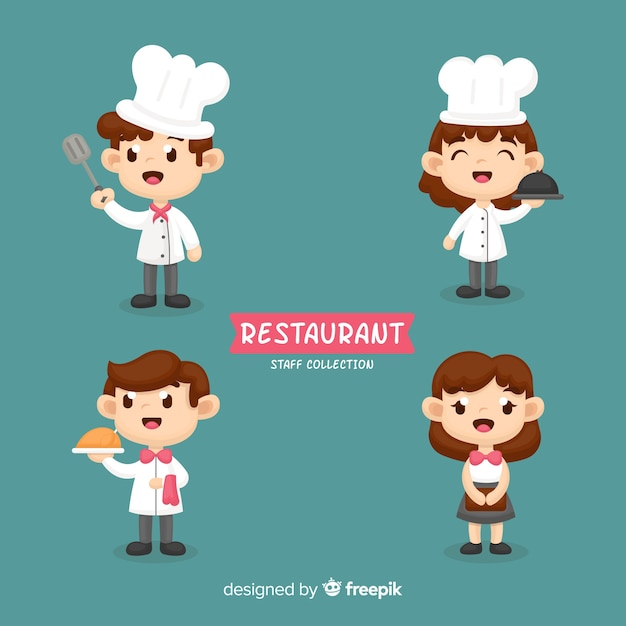Handgezeichnete restaurant mitarbeiter sammlung Kostenlosen Vektoren