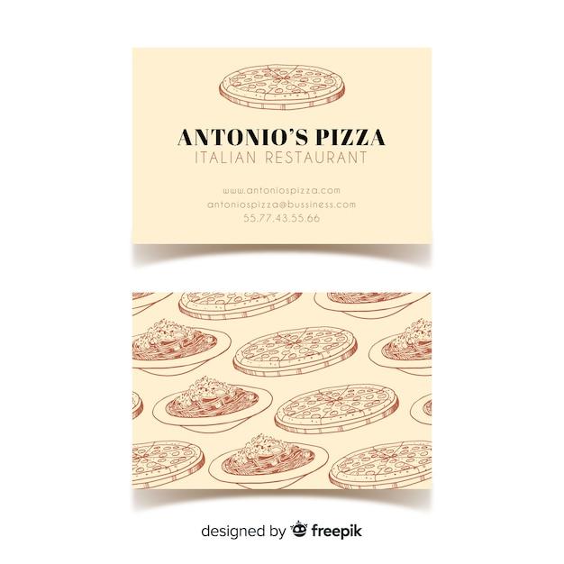 Handgezeichnete restaurant visitenkarte vorlage Kostenlosen Vektoren