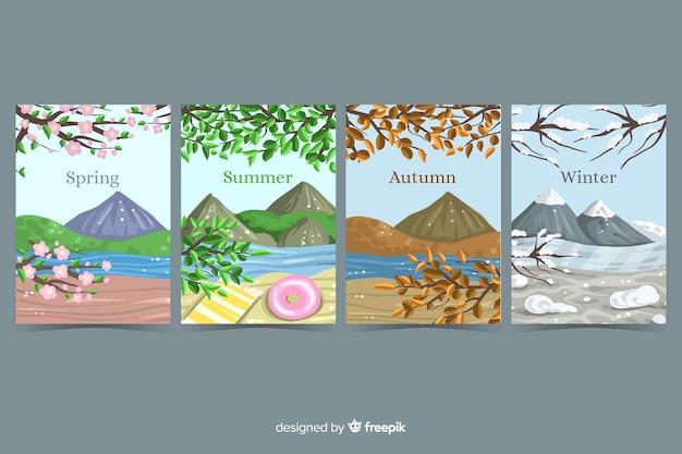 Handgezeichnete saisonale broschüre sammlung Kostenlosen Vektoren