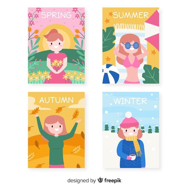 Handgezeichnete saisonale plakatsammlung Kostenlosen Vektoren