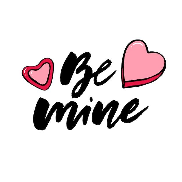 Handgezeichnete schriftzug mit romantischen phrasen Premium Vektoren