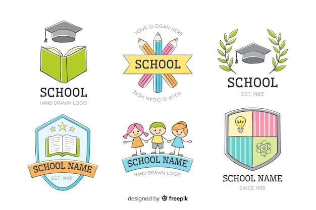 Handgezeichnete schule logo sammlung Kostenlosen Vektoren