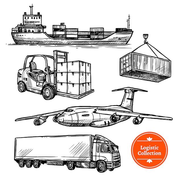 Handgezeichnete skizze logistik set Kostenlosen Vektoren