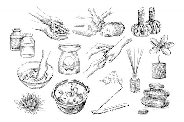 Handgezeichnete skizze von spa-set-werkzeugen. blume in händen, fuß in schüssel mit zitronen, schüssel mit blütenblättern, rücken- und handmassage, kräuterbeutel, kerzenbrenner, gläser, aromastab, steine, lotus Premium Vektoren