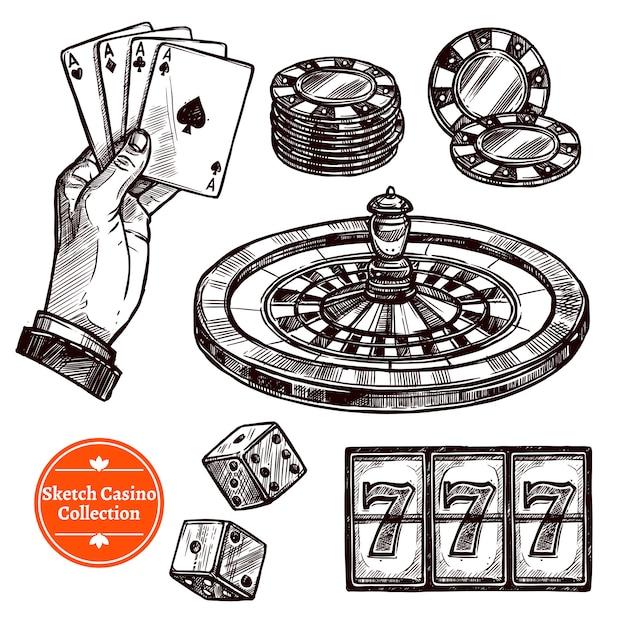Handgezeichnete skizzen-casino-sammlung Kostenlosen Vektoren