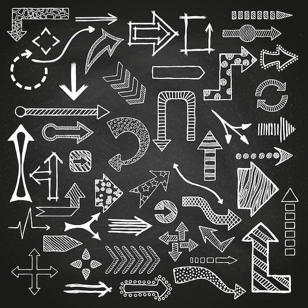 Handgezeichnete skizzierte pfeile in verschiedenen formen. Premium Vektoren