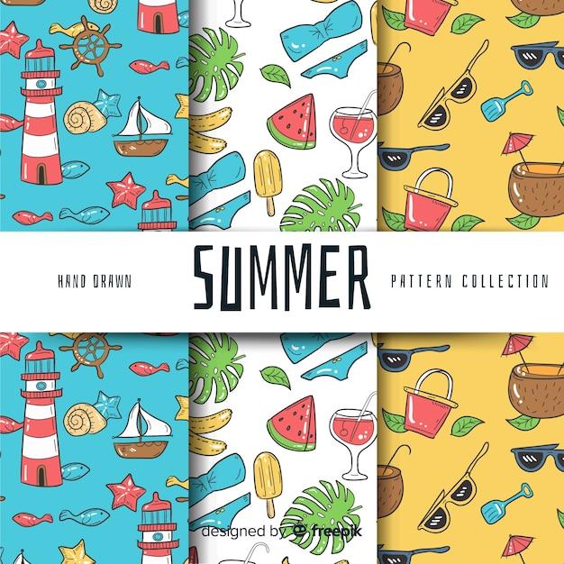 Handgezeichnete sommer-muster-kollektion Kostenlosen Vektoren