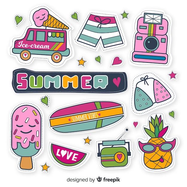 Handgezeichnete sommer sticker pack Kostenlosen Vektoren