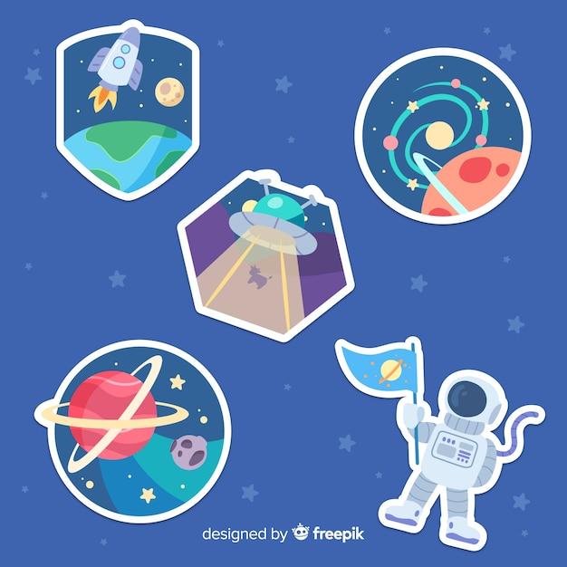 Handgezeichnete space sticker pack Kostenlosen Vektoren