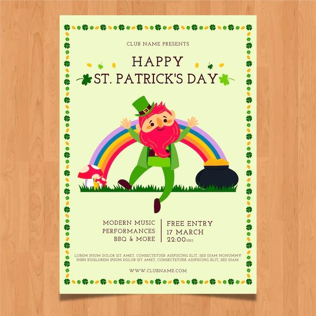 Handgezeichnete st. patrick's day plakat vorlage Kostenlosen Vektoren