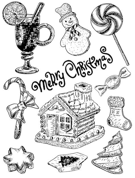 Handgezeichnete stil frohe weihnachten süßigkeiten festgelegt Premium Vektoren